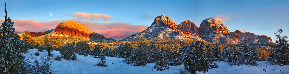 Panorama New Year with big snow in Sedona, AZ