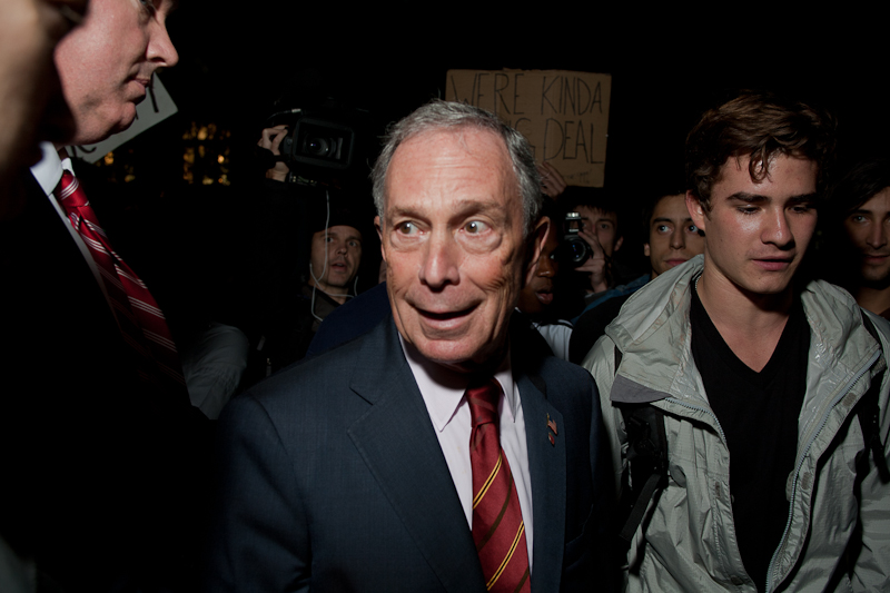 USA. New York. 2011. Occupy Wall Street. Mayor Bloomberg pays a suprise visit to Zuccotti Park on the night of Wednesday, October 12, 2011.