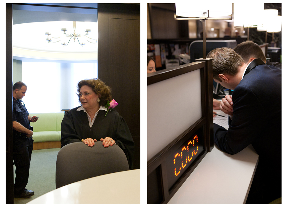 Left: Several dozen judges across the state volunteered to play an official role in the new law's first day.Right: State law generally requires couples to wait 24 hours after receiving a license before they can be married. On Sunday, couples were able to hold their marriage ceremonies immediately—skipping the 24-hour waiting period—by asking a New York State judge to grant a Judicial waiver of the 24-hour requirement.Photo by Erica McDonaldSame-Sex Marriage in New York CitySunday, July 24, 2011