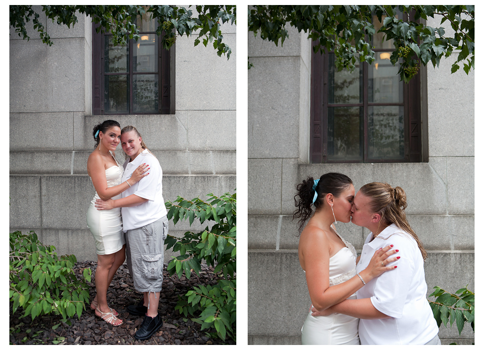 USA. New York. 2011 A couple embraces outside the City Clerk's Office in Manhattan before their wedding ceremony.Photo by Erica McDonaldSame-Sex Marriage in New York CitySunday, July 24, 2011