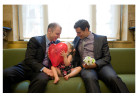 Peter Meyer and Darren Katz with their daughter inside Manhattan's City Clerk's Office before their service.Photo by Erica McDonaldSame-Sex Marriage in New York CitySunday, July 24, 2011