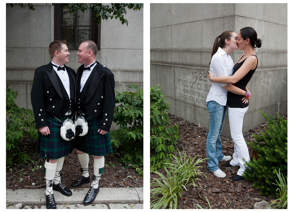 Left: Adam McKew, 30, Surgical Technician, and Dave Lewis,  38, Celebrity Concierge, wear kilts in celebration of their wedding day, which coincides with their seven-year anniversary.Right: Julie Kastenbaum, 27 and Nicole Maletta, 25, both psychology students, came from Connecticut in order to married in New York on the 24th.Photo by Erica McDonaldSame-Sex Marriage in New York CitySunday, July 24, 2011