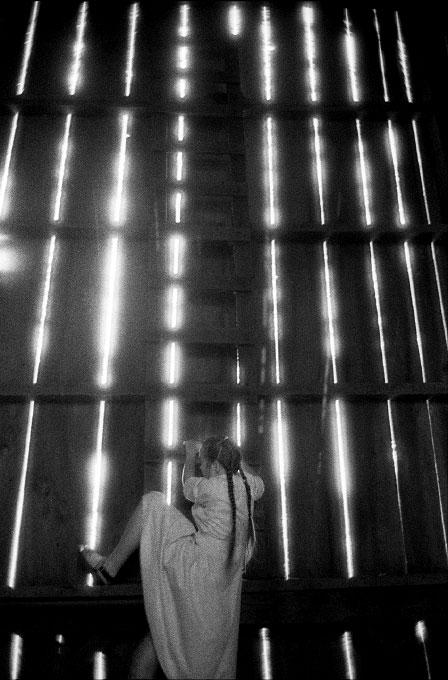 Climbing a barn ladder