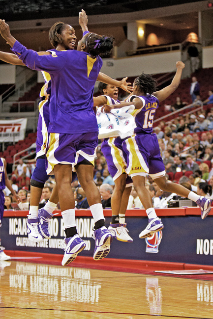 Louisiana State University players celebrate an inevitable victory over UConn in the Fresno Regional of the NCAA women's tournament at the Save Mart Center in Fresno, CA.