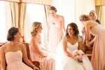 Sweet moment with her girls before the ceremony at The Claremont Hotel in Berkeley