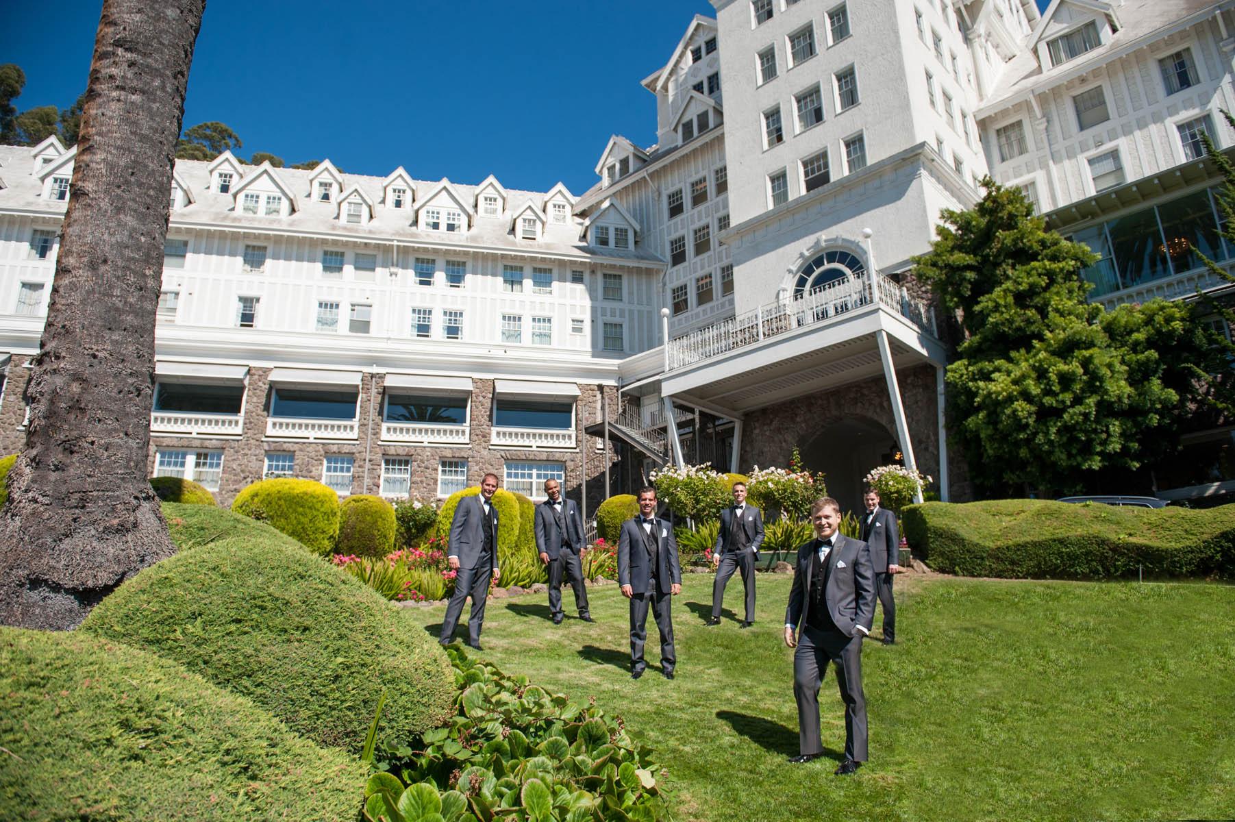 These groomsmen look so dapper with the Claremont Hotel in Berkeley