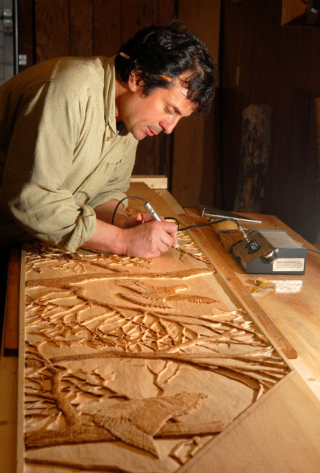 Bas relief artist Michael Trivieri, Tupper Lake, New York.