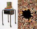 nut bowl, pencils, metal table, books8{quote} wide x 8{quote} deep x 35{quote} high