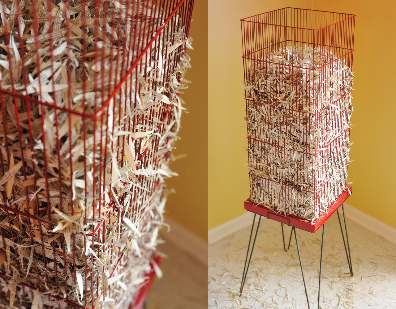 metal bird cage, dictionary pages, aerosol paint12{quote} wide x 12{quote} deep x 48{quote} high
