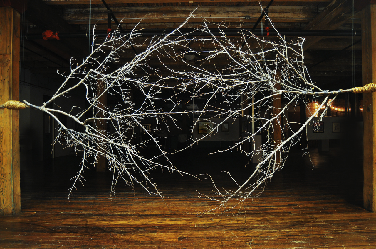 tree branches, wire, sisal18' wide x 3' deep x 9' high