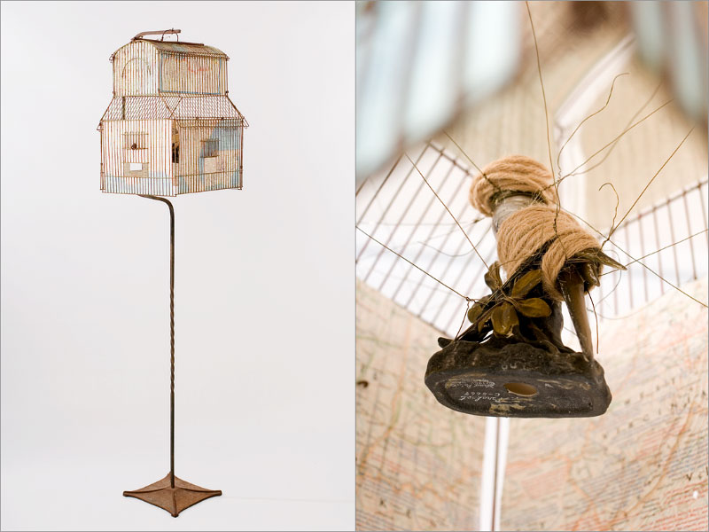 metal bird cage, wire, vintage maps, plaster bird, jute13{quote} wide x 13{quote} deep x 63{quote} high
