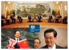 (Top) British Prime Minister David Cameron meets with Chinese Premier Wen Jiabao during trip to Beijing, China in November 2010.(Bottom Left) Chinese Premier Wen Jiabao(Bottom Right) Chinese President Hu Jintao
