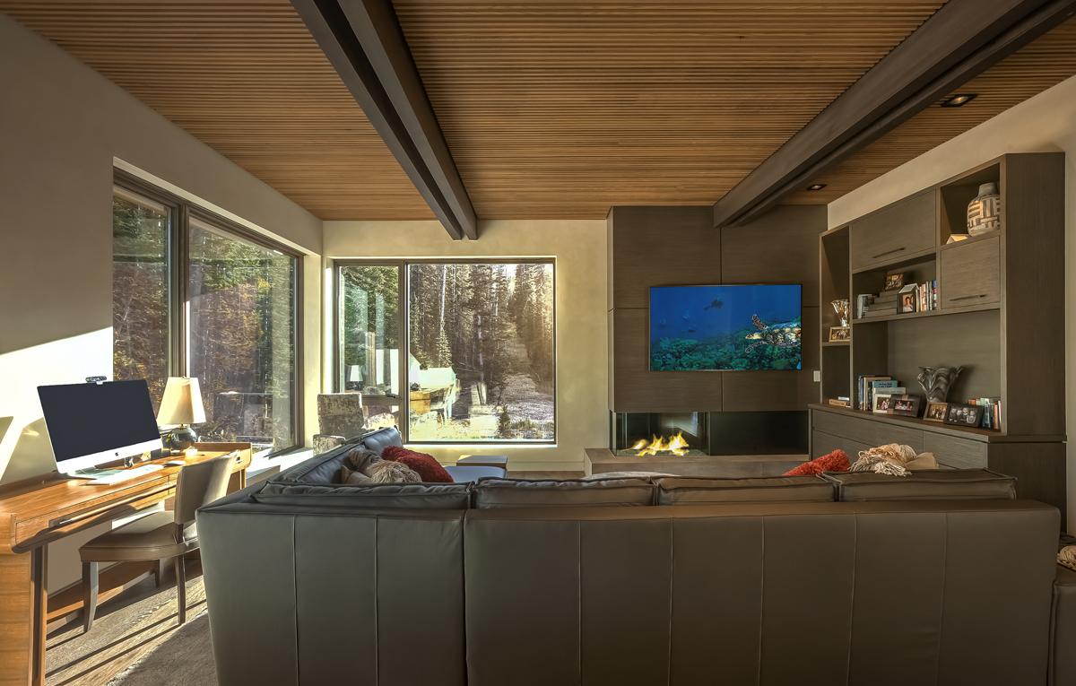 Interior lower level family living room