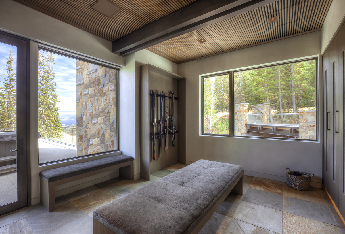 Interior Mud room with view of balcony