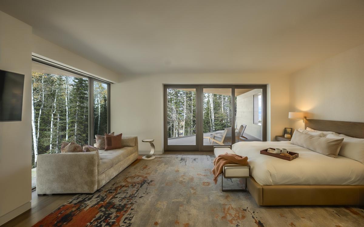 Interior upper level guest bedroom