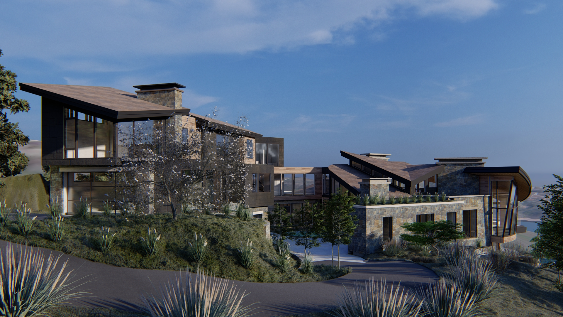 Exterior rendering view of left center of the house