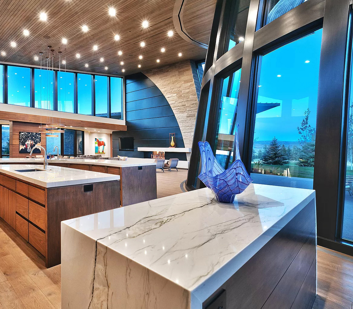 Interior view of kitchen marble countertops