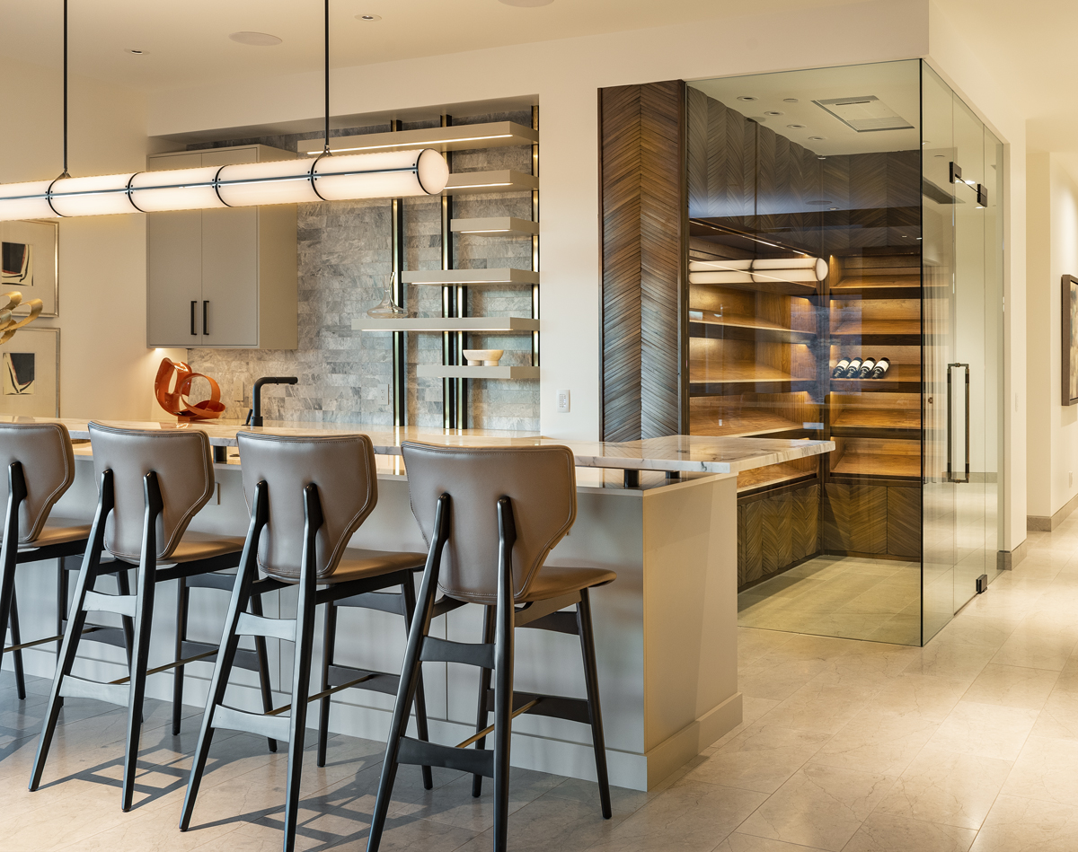 Interior low level bar and wine room