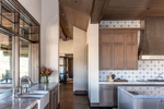 Interiror kitchen view with marble countertops
