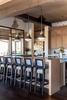 Interior upper level kitchen bar stools and countertop