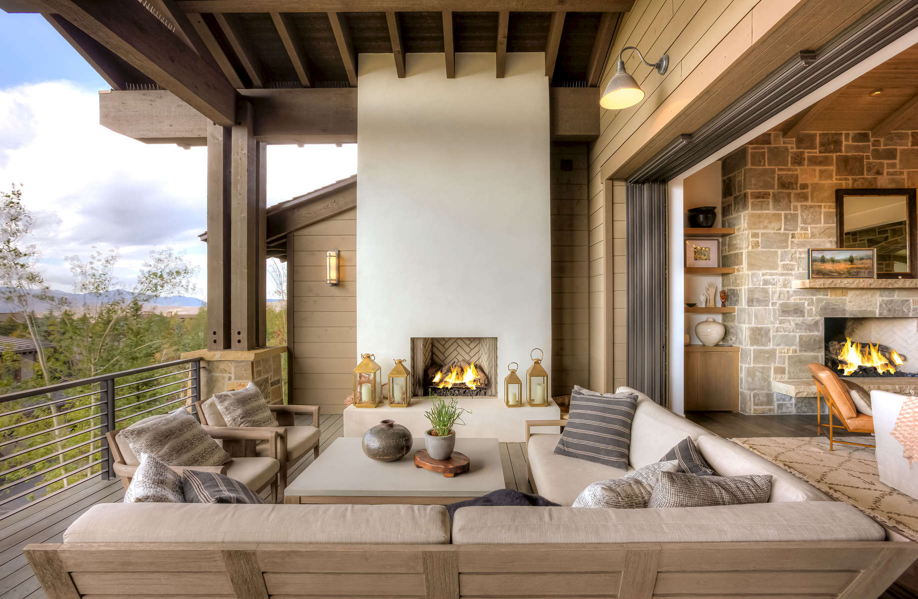 Interior view of patio living area and fireplace