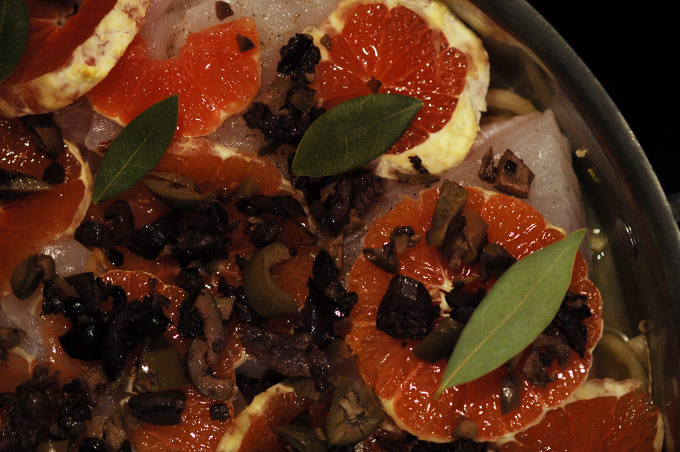 HALIBUT WITH OLIVES AND BLOOD ORANGES