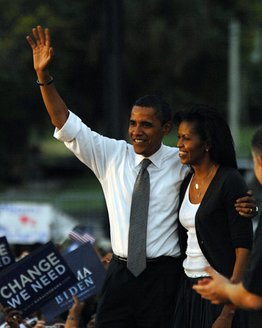 BARACK  AND MICHELLE OBAMA, MIAMI