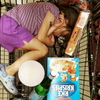 During our obviously vital grocery run, Rosie fell asleep in the cart. June 2017.
