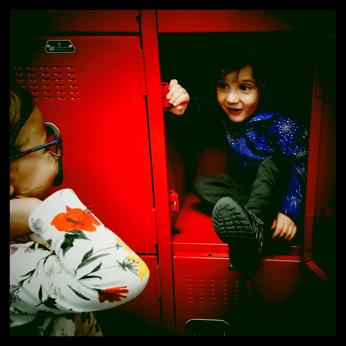 After ice skating lessons Luka decided to play hide-and-seek in the lockers. But he didn't tell anyone he was playing so we just heard him laughing. We opened up the door and he popped out. October 2017.