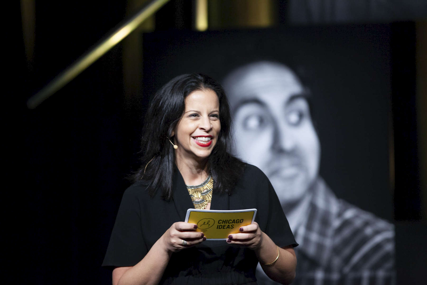 """CHICAGO, IL - OCTOBER 15: Amanda Salhoot presents the panelists for, """"Blockchain: The Future of Money, Power and Culture"""" presented by BartlitBeck during Chicago Ideas Week.(Photo by Beth Rooney/Chicago Ideas Week)"""