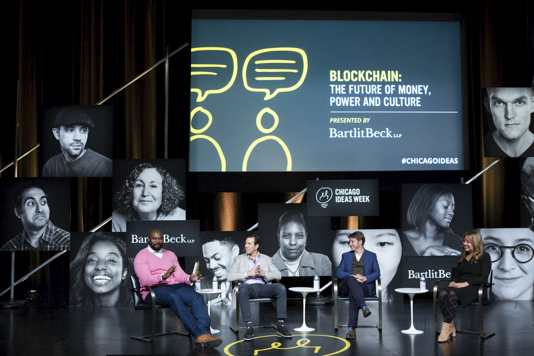 "CHICAGO, IL - OCTOBER 15: Israel Idonije (far left) leads a panel discussion with Bradley Tusk, Nathaniel Manning, and Rumi Morales during Chicago Ideas Week ""Blockchain: The Future of Money, Power and Culture"" presented by BartlitBeck. (Photo by Beth Rooney/Chicago Ideas Week)"