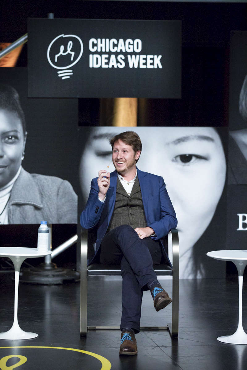 "CHICAGO, IL - OCTOBER 15 : Nathaniel Manning, CEO of Ushahidi, spoke at the ""Blockchain: The Future of Money, Power and Culture"" discussion, presented by BartlitBeck, at the Edlis Neeson Theater in Chicago. (Photo by Beth Rooney/Chicago Ideas Week)"