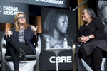 "CHICAGO, IL - OCTOBER 16: Amber Tamblyn (left), Writer, Actress, & Director, and Tina Tchen, Leader of the Time's Up Legal Defense Fund, speak during, ""#TimesUp: What's Next?"" presented by CBRE. (Photo by Beth Rooney/Chicago Ideas Week)"