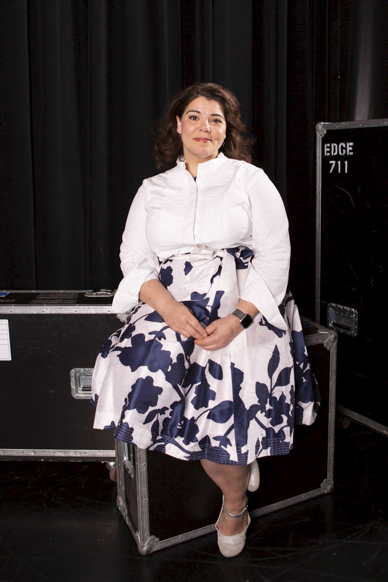 """CHICAGO, IL - OCTOBER 16: Celeste Headlee, Communication and Human Nature Expert, Award-winning journalist, and Author, backstage before panel discussion """"#TimesUp: What's Next?"""" presented by CBRE. (Photo by Beth Rooney/Chicago Ideas Week)"""