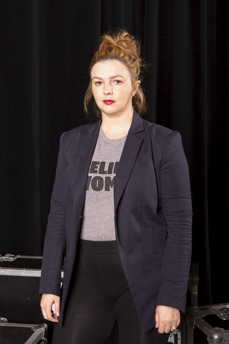 """CHICAGO, IL - OCTOBER 16: Amber Tamblyn, Writer, Actress, & Director, backstage before panel discussion """"#TimesUp: What's Next?"""" presented by CBRE. (Photo by Beth Rooney/Chicago Ideas Week)"""