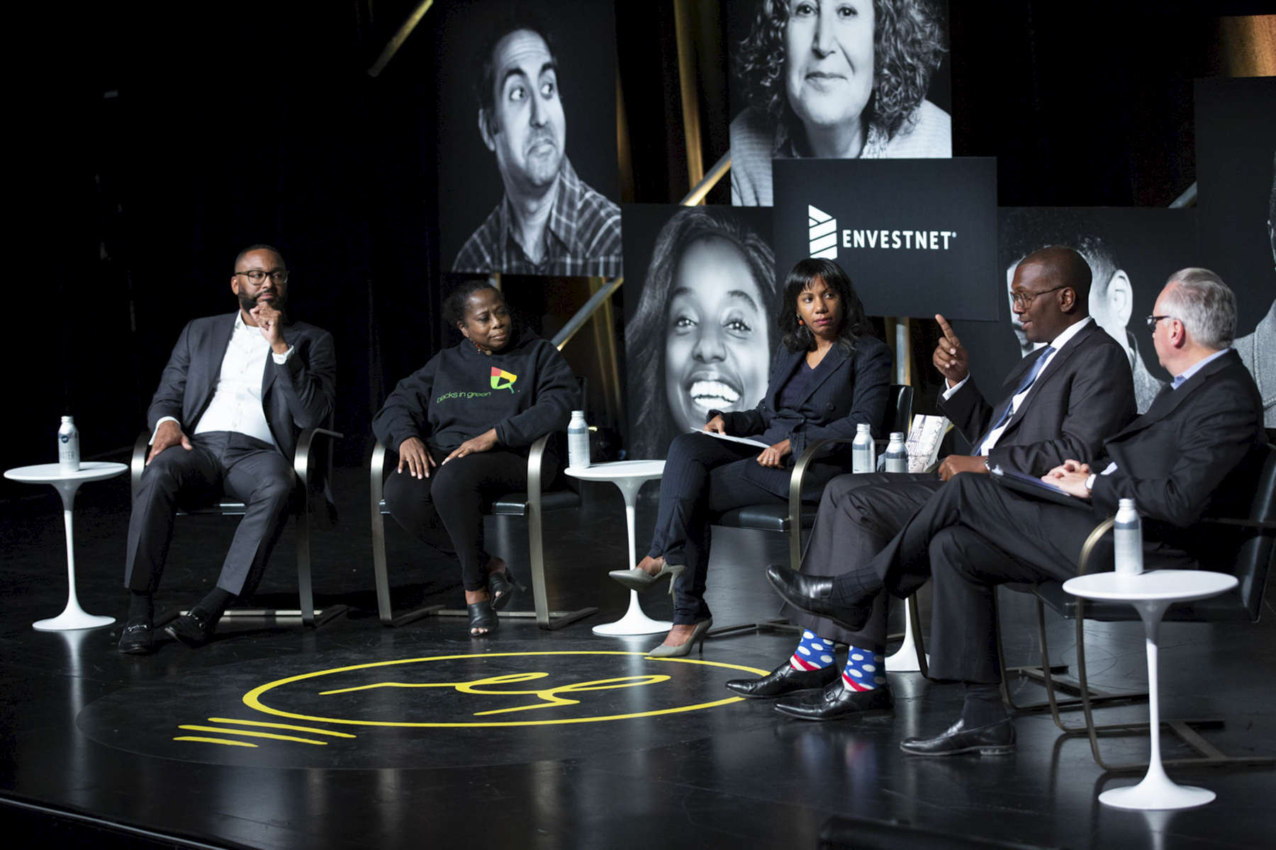 """CHICAGO, IL - OCTOBER 16: Envestnet presents, """"Rethinking Urban Development: A Look at the Obama Presidential Center"""" with panelists, Torrey Barrett, Naomi Davis, Natalie Moore, Ghian Foreman, and David Doig.  (Photo by Beth Rooney/Chicago Ideas Week)"""