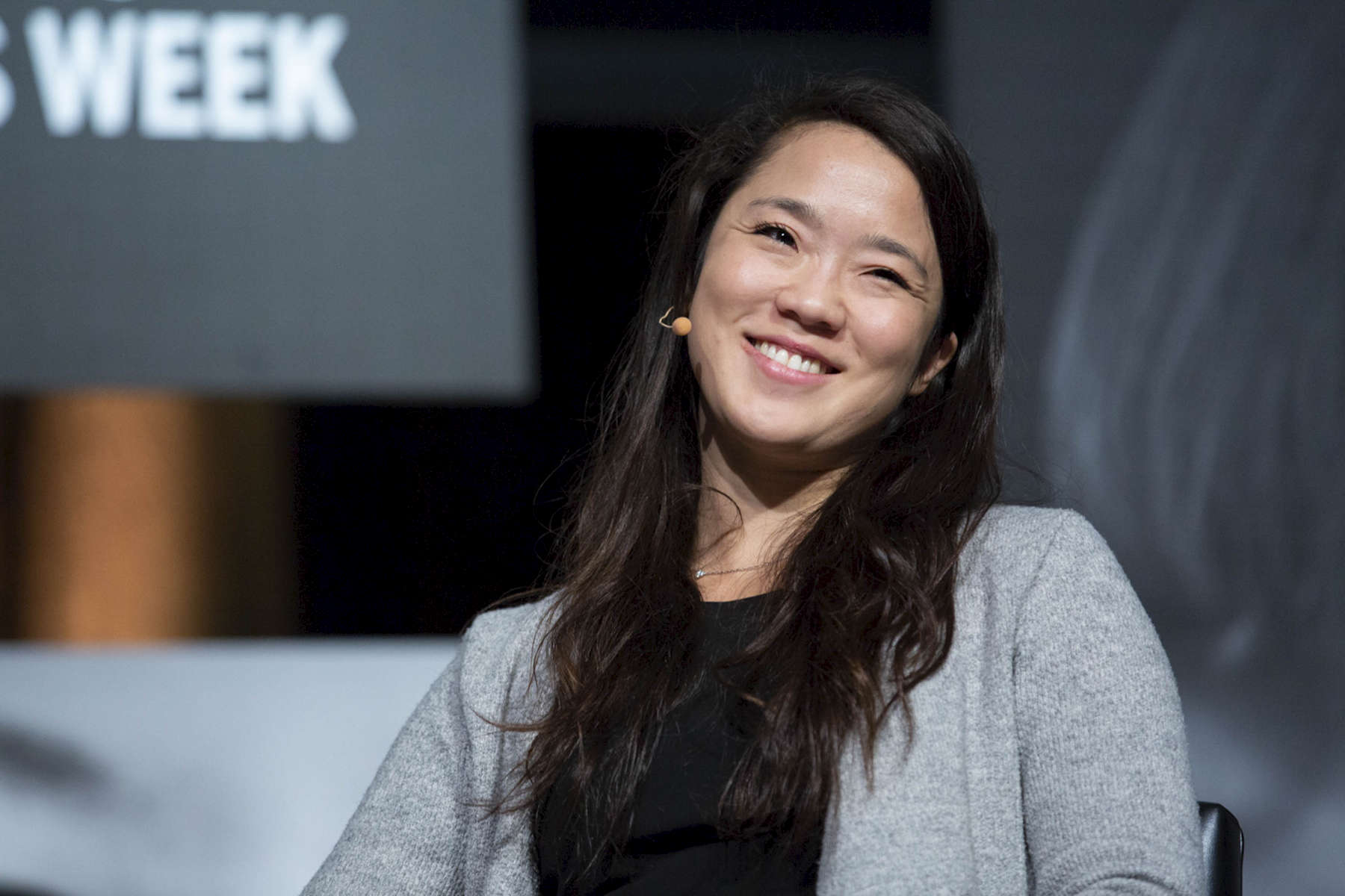 """CHICAGO, IL - OCTOBER 17: Heejae Lim, BHSI Fellow; Founder & CEO of TalkingPoints, speaks at Chicago Ideas Week talk """"Changing the World Through Entrepreneurship"""" presented by Horizon Pharma at the Edlis Neeson Theater. (Photo by Beth Rooney/Chicago Ideas Week)"""