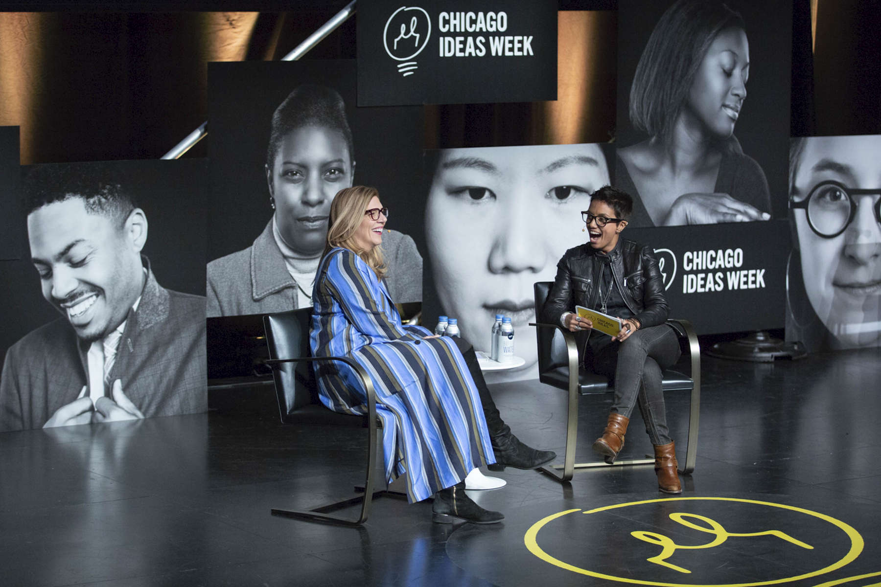 """CHICAGO, IL - OCTOBER 17: Fawzia Mirza,Actor & Writer (right) interviews Krista Vernoff, Writer and Executive Producer (left)  during """"Radical Creators: The Cultural Leaders Defining the Zeitgeist"""" at the Edlis Neeson Theater. (Photo by Beth Rooney/Chicago Ideas Week)"""