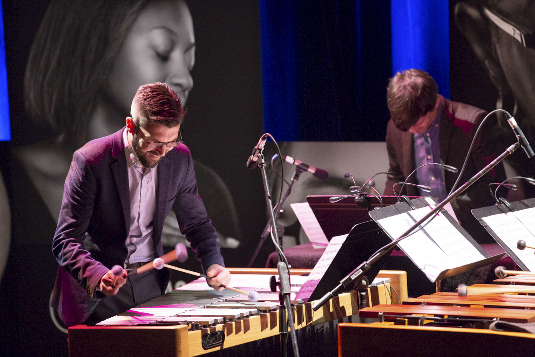 """CHICAGO, IL - OCTOBER 17: Third Coast Percussion, a Grammy-winning Percussion Quartet, perform for a full house during """"Radical Creators: The Cultural Leaders Defining the Zeitgeist"""" at the Edlis Neeson Theater. (Photo by Beth Rooney/Chicago Ideas Week)"""
