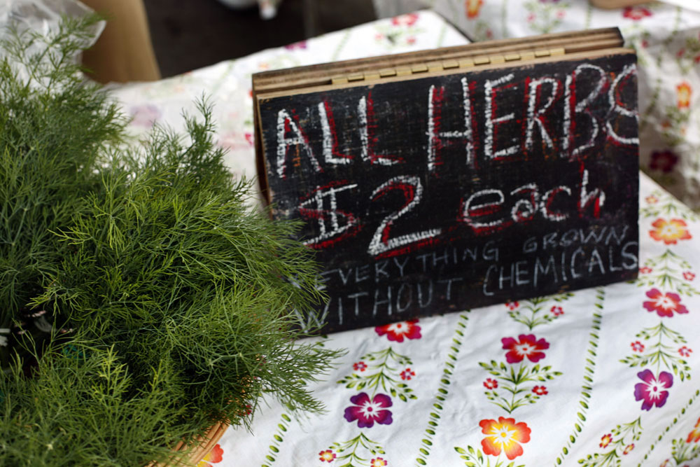 A stall at a farmers market in Chicago, Illinois