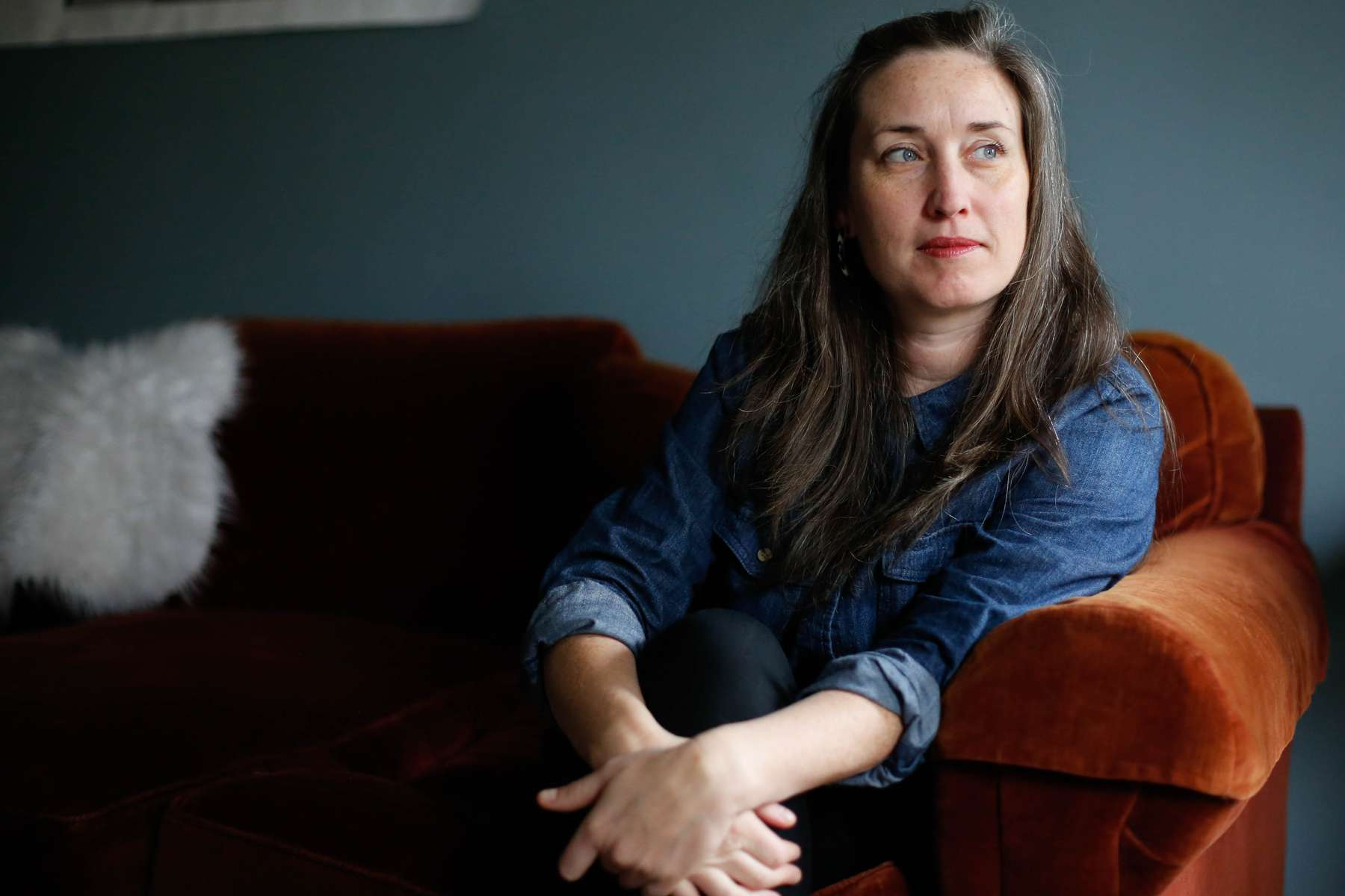 """Sarah Dodson, arts administrator, 39.""""I remember my hair went gray in my 20s and I was bartending, men would comment on it then…But now it is just part of me."""""""