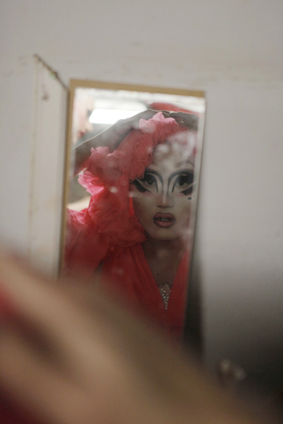 Kim Chi getting ready for a show at Hydrate.
