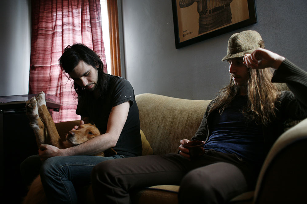 Dave Turncrantz and Mike Sullivan, members of the metal band Russian Circles, sit in their apartment in Chicago on April 27, 2008.