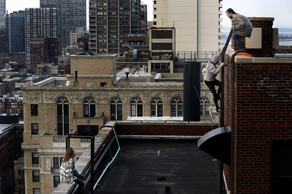 Salem climbing in Chicago, Illinois.