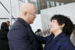 CHICAGO, IL - JANUARY 24: Dr. Eric Whitaker and Dr. Freada Kapor Klein greet each other at the SMASH Illinois launch.