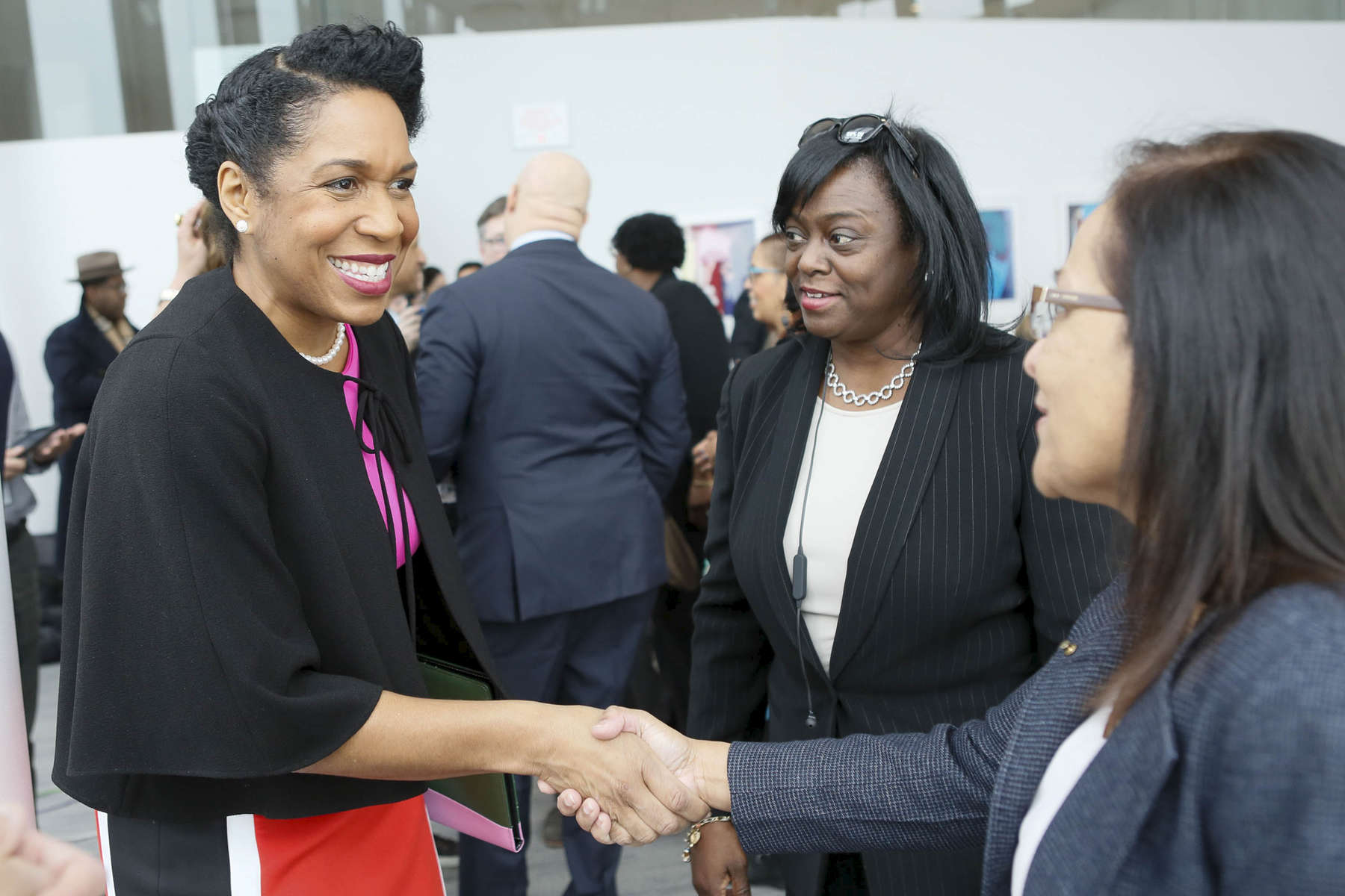 Lt. Governor Juliana Stratton greets people at the SMASH Illinois launch in Chicago, Illinois on January 24, 2019.