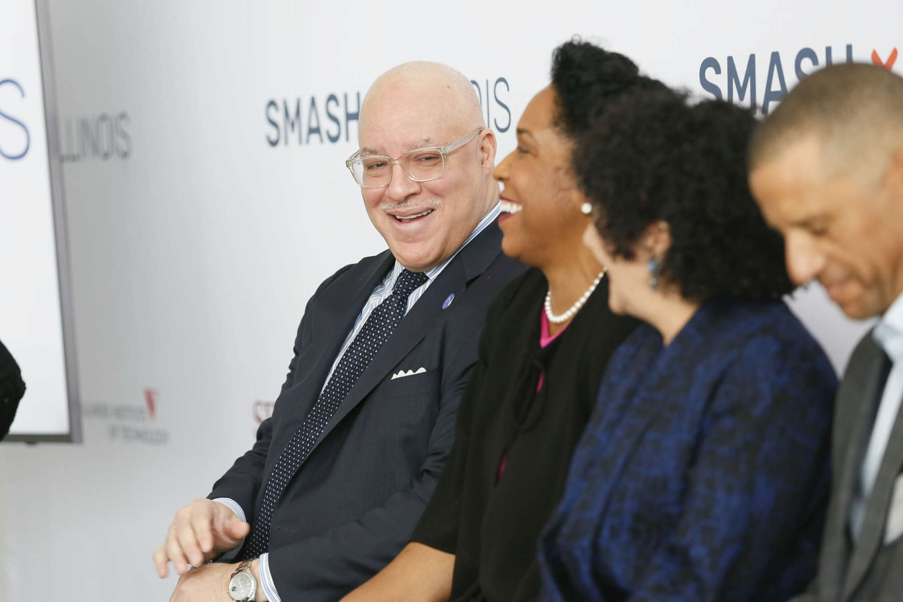 Left to Right: Dr. Eric Whitaker (Emcee), Lt. Governor Juliana  and Dr. Freada Kapor Klein at the SMASH Illinois launch in Chicago, Illinois on January 24, 2019.