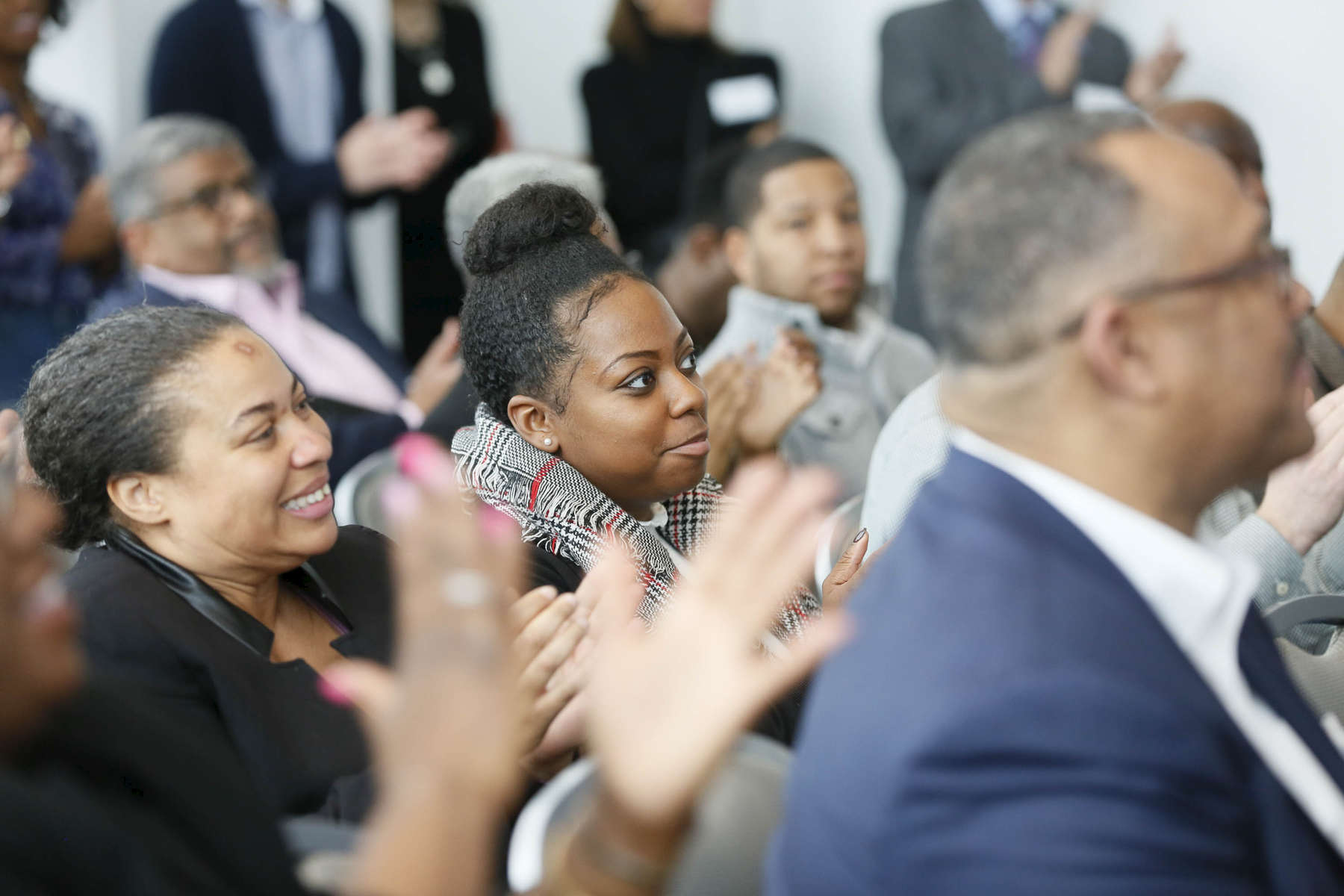 CHICAGO, IL - OCTOBER 17: Audience members enjoy the many speakers at the SMASH Illinois launch in Chicago, Illinois on January 24, 2019.