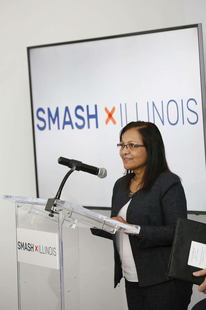 Dr. Meera Komarraju, Provost and Vice Chancellor for Academic Affairs, SIU Carbondale, speaks at the SMASH Illinois launch in Chicago, Illinois on January 24, 2019.