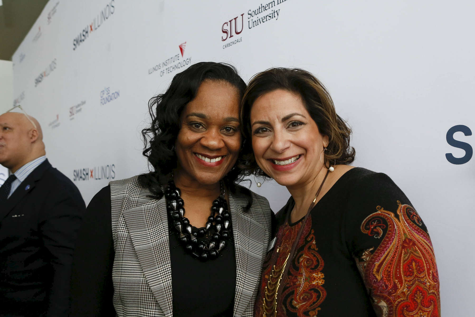 Honorable Kimberly A. Lightford (left), Senate Majority Leader & Joint-Chair, ILBC, poses for photos at the SMASH Illinois launch in Chicago, Illinois on January 24, 2019.
